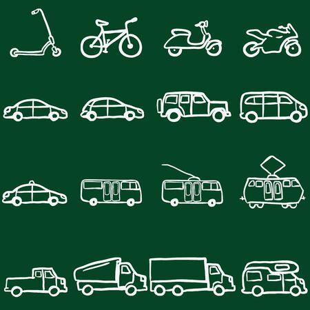 transporte terrestre: Vector Conjunto de tiza Doodle Transporte Terrestre iconos