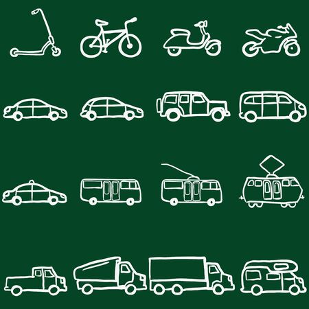 trackless: Vector Set of Chalk Doodle Ground Transportation Icons