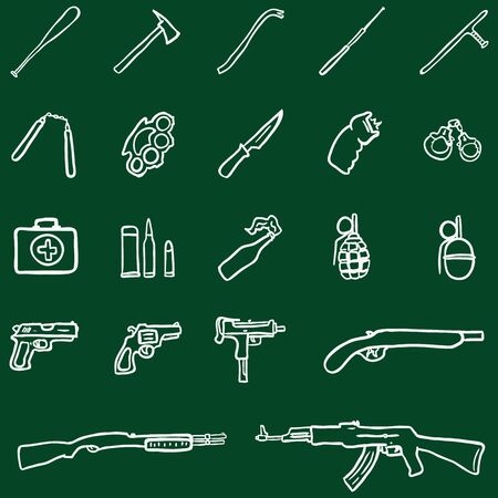 truncheon: Vector Set of Chalk Doodle Weapon Icons