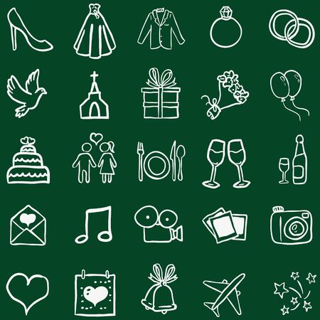 Vector Set of Chalk Doodle Weddings Icons
