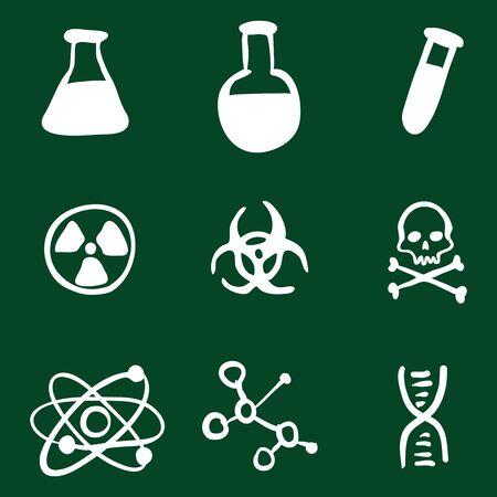 Vector Doodle Chemistry Icons Set on Green Background Illustration