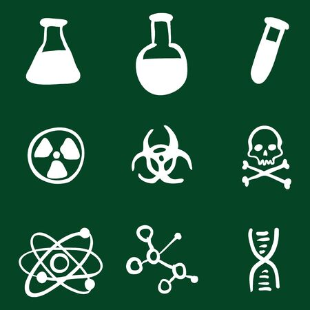 Vector Doodle Chemistry Icons Set on Green Background Illustration