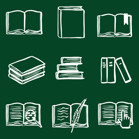 closed book: Vector Doodle Book Icon Set. Open Book, Closed Book, Bookmark, Pile of Books, E-books. Library Icons. Illustration