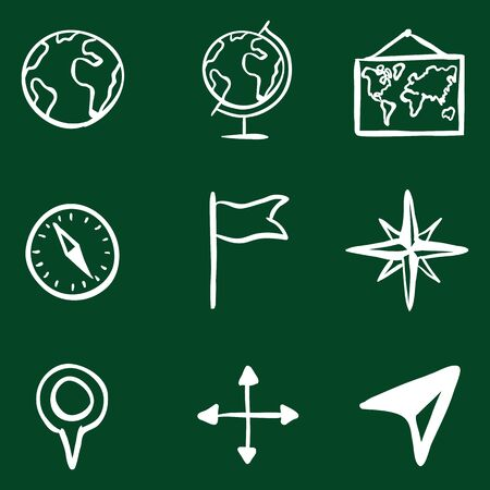 geography: Vector Doodle Geography Icons Set on Green Background