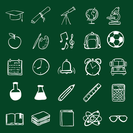 stinks: Vector Doodle Education Icons Set. University and School Subject Icons.