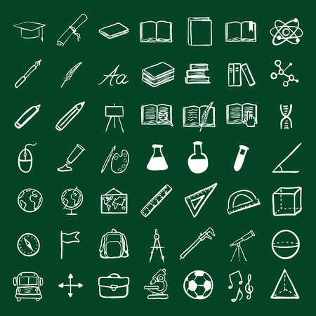 orthography: Vector Doodle Education Icons Set. University and School Subject Icons.