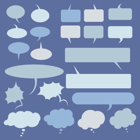 Vector Set of Flat Comics Bubbles. Talk and Think Bubles.  イラスト・ベクター素材