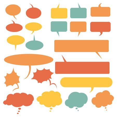 Vector Set of Flat Comics Bubbles. Talk and Think Bubles. Illustration