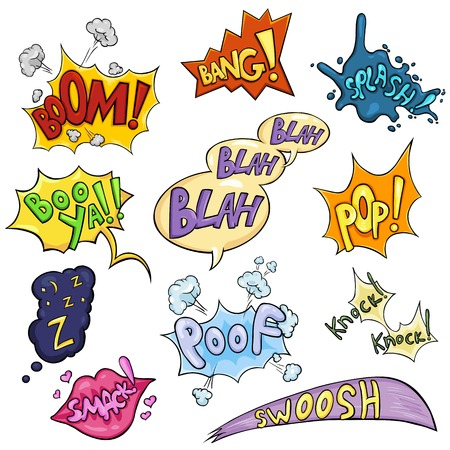 smack: Vector Set of Cartoon Comics Phrases and Effects. Boom, Bang, Splash, Boo ya, Blah-blah-blah, Pop, Z-z-z, Smack, Poof, Knock Knock, Swoosh. Illustration