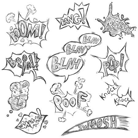Vector Set of Sketch Comics Phrases and Effects. Boom, Bang, Splash, Boo ya, Blah-blah-blah, Pop, Z-z-z, Smack, Poof, Knock Knock, Swoosh. Illustration