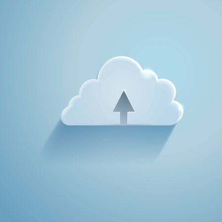 remote server: Vector Single Icon - Cloud Storage Sign on Blue Background