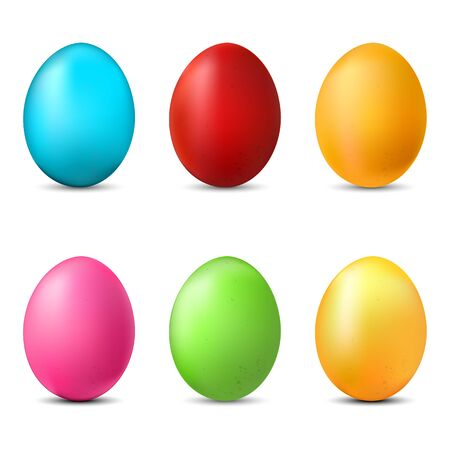 Vector Set of Color Paint Easter Egg. Blue, Red, Gold, Pink, Green, Yellow.