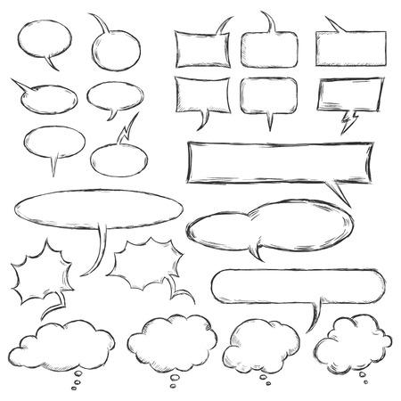 replica: vector talk and think vector sketch bubbles Illustration