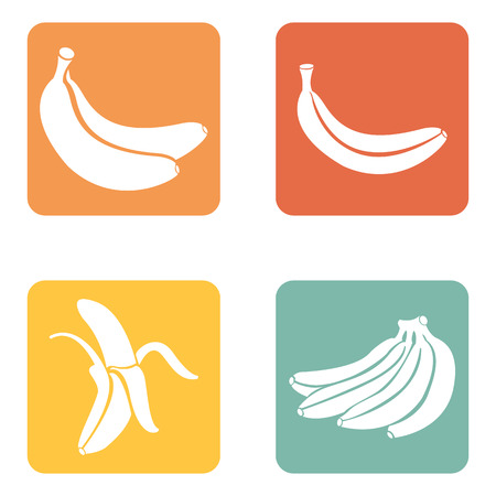 Vector Set of 4 Banana Fruit Icons. Illustration