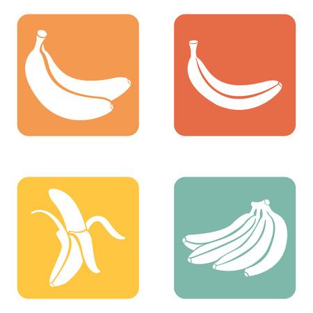 ripe: Vector Set of 4 Banana Fruit Icons. Illustration