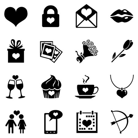 Vector Set of Black Icons for Valentine Day Illustration