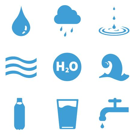 Vector Set of 9 Blue Water Icons