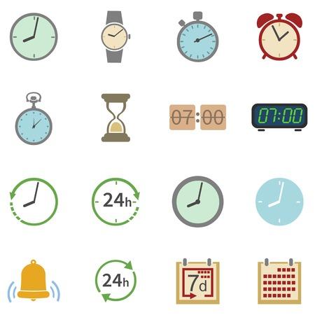 cronologia: Vector Conjunto de 16 iconos de colores Tiempo