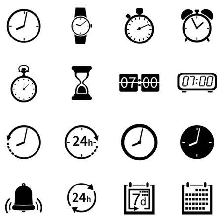 sandglass: Vector Set of 16 Black Time Icons