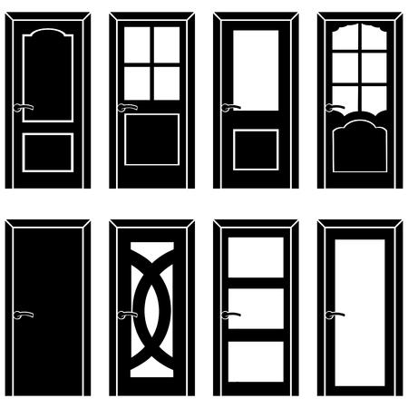 retro illustration: vector set of 8 Black door icons Illustration