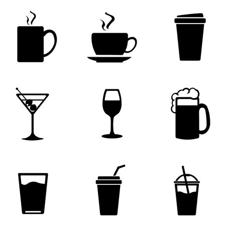 fizzy water: Vector Set of Drinks Icons. Tea, Coffee, Alcohol, Martini, Wine, Beer, Mineral Water, Fizzy Water, Smoothie, Cocktail.