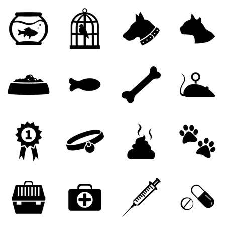 vogelspuren: Vector Set of 16 Black Pets Icons Illustration