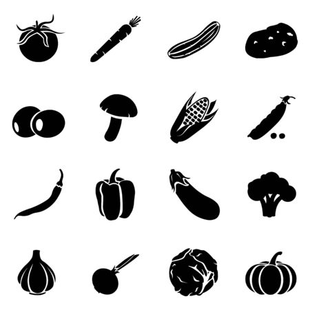 greengrocery: Vector Set of Vegetables Icons. Tomato, Carrot, Cucumber, Potato, Olives, Mushroom, Corn, Peas, Chili Peper, Paprika, Eggplant, Brocolli, Cauliflower, Garlic, Onion, Cabbage, Pumpkin.