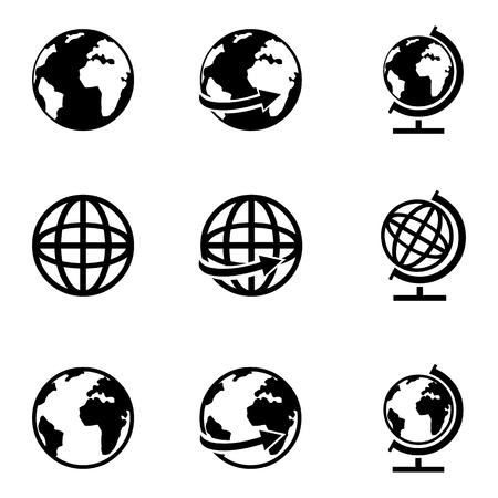 globus: Vector Set of 9 Basic Globe Icons Illustration