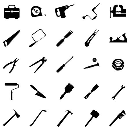 hand trowels: vector set of 25 black tool icons Illustration