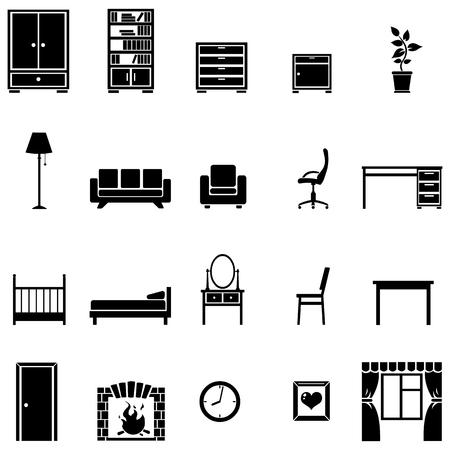 piece of furniture: vector set of 20 Black furniture icons