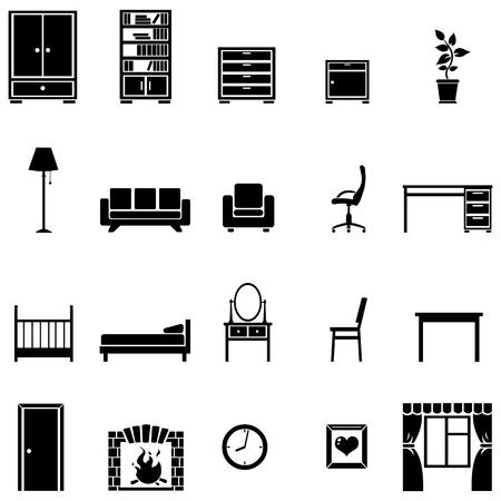 vector set van 20 zwarte meubels pictogrammen