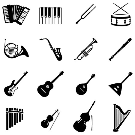 vector set of 16 black musical instruments icons