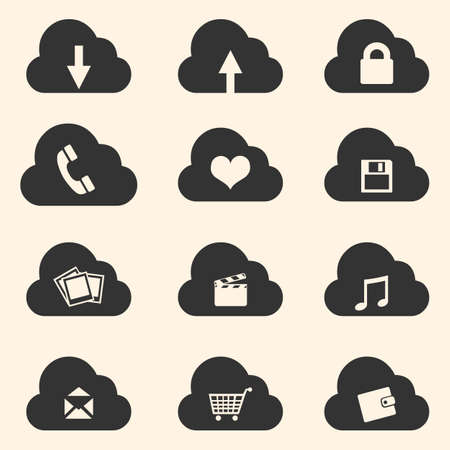 conceptions: Vector Set of Cloud Icons with Different Conceptions