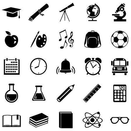 Vector Set of 25 Black School Icons.