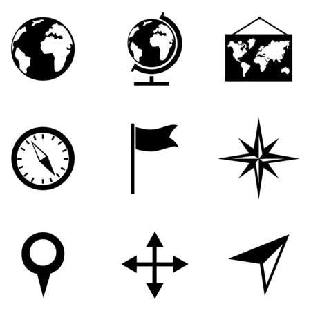 geography: Vector Set of 9 Black Geography Icons.