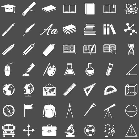 orthography: Vector Set of 49 Education Icons. School and University.