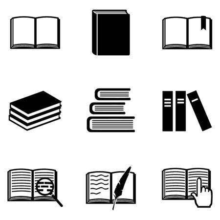 bookseller: Vector Set of 9 Black Books Icons
