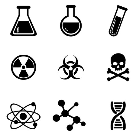 Vector Set of 9 Black Chemistry Icons.