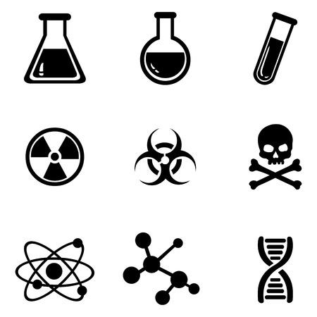 stinks: Vector Set of 9 Black Chemistry Icons.