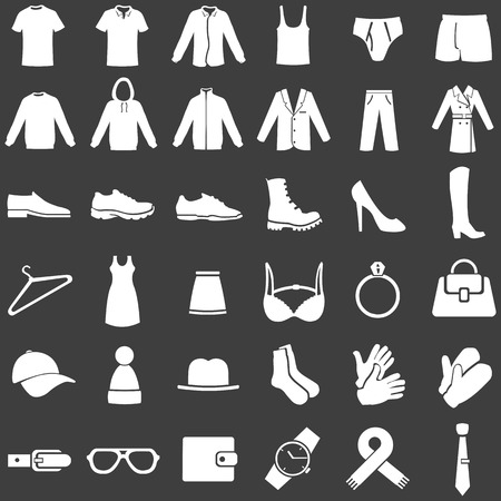 Vector Set of 36 White Clothes Icons Vettoriali