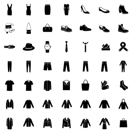 evening wear: Vector Set of 49 Clothes Icons. Mens and Womens Fashion. Casual, Sport, Bussines and Evening Wear. Footwear.