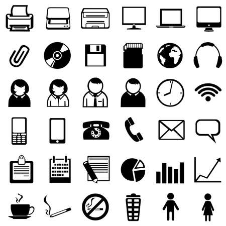 vector set of 36 black office icons