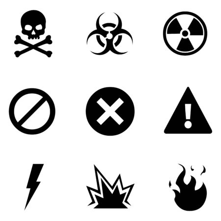 nuclear accident: Vector Set of 9 Flat Basic Warning Icons Illustration