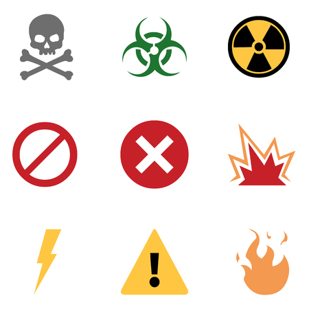 basic: Vector Set of 9 Flat Basic Warning Icons Illustration