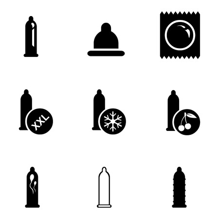Vector Set of Black Condom Icons. Types of Condoms. Ilustração