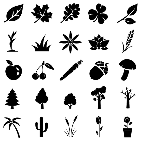 vector set of 25 black plants icons