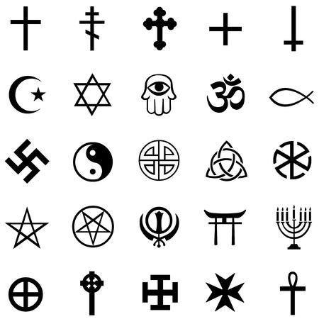 ensemble de vecteurs de 25 symboles religieux noirs Vecteurs