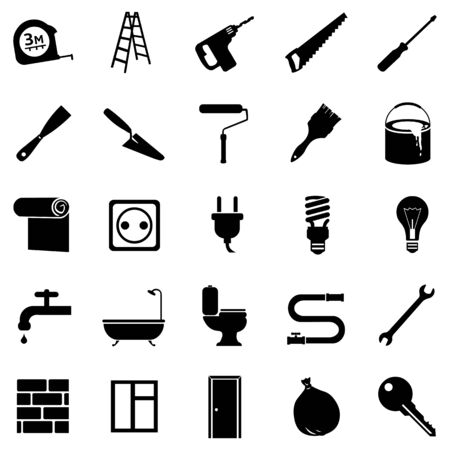 Vector Set of Black Home Repairing, Building, Construction and Decoration Icons