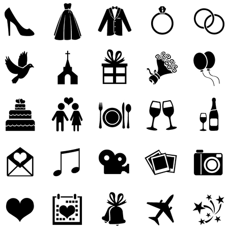 Vector Set of 25 Black Wedding Icons Vectores