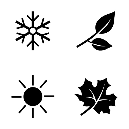 scorching: Vector Set of 4 Black Seasons Icons. Illustration